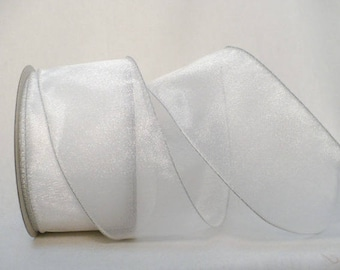 "Semi sheer white wedding ribbon, semi sheer white iridescent wired ribbon, wreath supplies. 1.5"" x 5 yards"