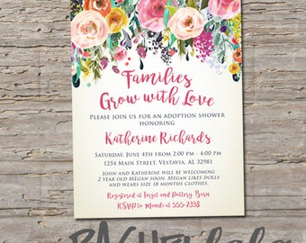 Floral Watercolor, Families grow with love, printable, digital template, adoption baby shower party invitation, custom, garden spring flower