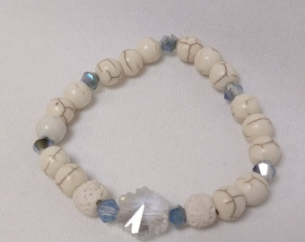 Essential Oil Diffuser Stretch Bracelet of White Turquoise and Lava Rock Beads with Crystal accent beads and Crystal Charm