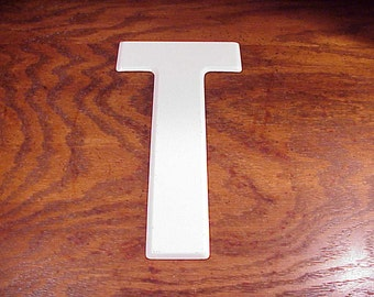 Vintage White Letter T 10 Inches Tall Metal Store Marquee Sign, Capital Letter