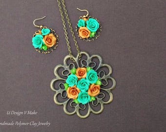 Handmade Polymer Clay Roses Jewelry Pendant Set new year gift