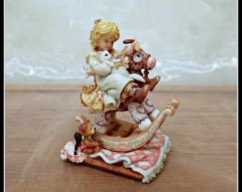 Enesco Laura's Attic Where Shall We Go Girl On A Rocking Horse Figurine, Karen Hahn, Numbered Edition, Collectible, Girls Room Decor