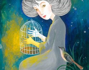 "original watercolor picture ""Nightingale"""