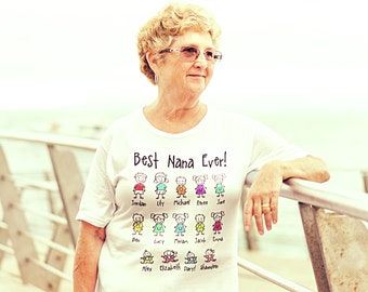 Custom Grandma | Grandpa | Papa | Nana | Reunion | Family Stick Figure Name | Getting to Know You | Saying T-Shirts
