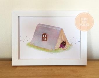 Pastel Reading Book Tent Illustration Fine Art Print (A5)