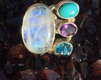 Moonstone, Turquoise, Amethyst, Apatite Ring -size 6.5-