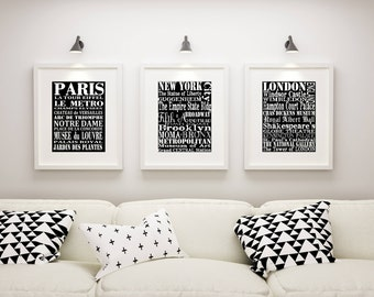 Subway Wall Art, 3 Matted and Framed Subway Art Prints, Paris, New York, and London