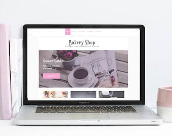Custom website, Bakery website, coffee shop website, chic website template, website template, cafe website, premade website, webdesign