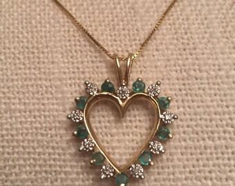 Diamond/Emerald 14K Gold Heart Shaped Necklace