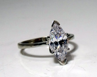 14k Gold Ring with Marquise Solitaire Diamond RF490