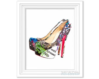 Colorful Red Sole High Heel Shoes Art Print Watercolor Fashion Shoes Home Decor Wall Decor Illustration Wall Art Shoe Lover Gift (No.290)