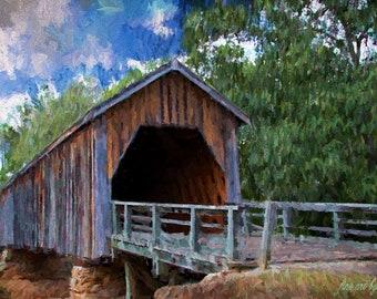 Historic Old Covered Wood Bridge, Old Bridge Painting,Rustic Bridge Painting,Canvas Painting