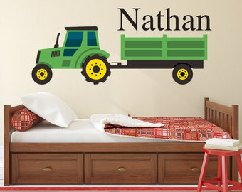 Personalized Name Wall Decal - Green Farm Tractor Wall Art - Kids Bedroom Tractor Wall Decor
