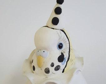 Coco-  mini ceramic sculpture of budgie as a clown