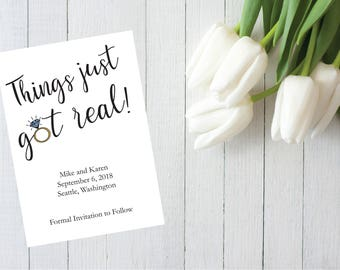 Things Just Got Real - Save the Date, Printable, Customizable Download, Funny Save the Date, Wedding Announcement 4x6 Print
