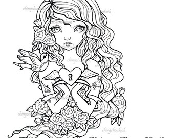 Key Of Love - Instant Download / Tattoo Girl Love Heart Bird Dove Rose Key Vintage Fantasy Art by Ching-Chou Kuik