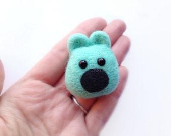 Felt Mint Teddy Bear Brooch - Made to Order Needle Felted Pastel Mint Green Animal Jewellery Pin
