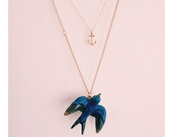 Porcelain Swallow Necklace & Gold Vermiel Anchor Nautical Kitsch Duo