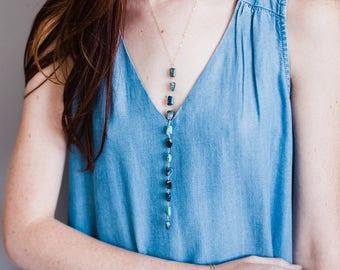 NEW Cascading Chrysocolla GEM Drop Necklace-Gold