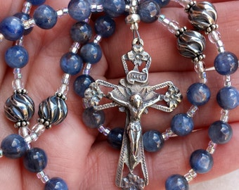 Stella Maris - beautiful blue kyanite rosary by The Peaceful Bead