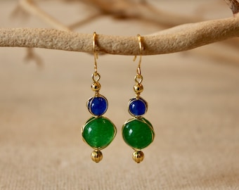 Handmade Wire Wrapped Blue and Green Jade Drop Earrings