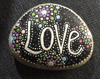 Hand painted stone, rock, Love