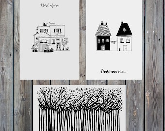 Set of 3 illustrations: the houses we inhabit