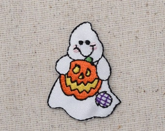 Halloween Ghost - Jack O Lantern - Pumpkin - Iron on Applique - Embroidered Patch - 696149A