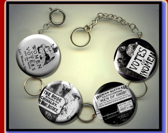 FEMINISM Suffrage Votes for Women Altered Art Charm Bracelet with Rhinestones