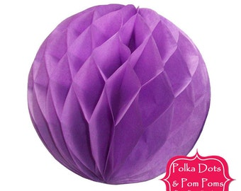 Birthday Party Decorations & Ideas / 29cm LILAC Purple Tissue Paper Honeycomb Balls / LARGE / Wedding / Baby Shower