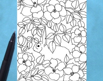Printable Coloring Card, Spring Equinox Card, Bunny Rabbit Card, Easter Card, Flower Garden Adult Colouring Card, Download, Blank Note Card