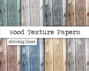"Wood Digital Paper, Natural Wood Back Drop, Distressed Wood Grain Texture Background, Colored Wood Scrap Book Papers 12x12"""