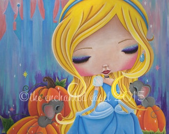 Art Print, Cinderella, Girls Room, Princess, Fairy Tale, Girls Art, Whimsical, Pumpkins, Mice, Girls Wall Art, Disney