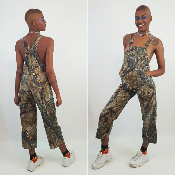 90's Camo Overalls Vtg Olive Green Jean Jumper XS Small - Overall Pants Womens Jean Jumpsuit Overalls - Straight Leg Pants Jumpsuit