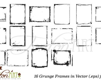 Digital Grunge Frames - Vector eps & png - 16 digital frames - digital clip art - photo overlays - grunge borders - instant download - D001