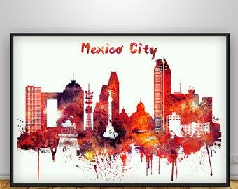 Mexico city art poster, Mexico city skyline, Mexico city wall art, Art prints, Travel decor, Wall decor, Home decor, Gift for Home