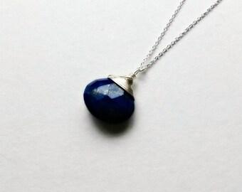 Lapis Lazuli Necklace, Blue Gemstone Necklace, Lapis Lazuli Pendant, Gifts for her, gifts under 25