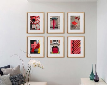 Red 6V Print Collection.  Detail photography, urban architecture, decor, wall art, artwork, large format photo.