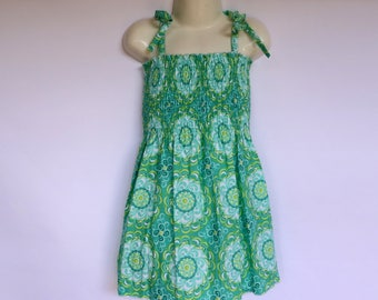Girls Green Shirred Sun Dress - Sizes 1 to 4 avail - retro geometric daisy, flower, floral