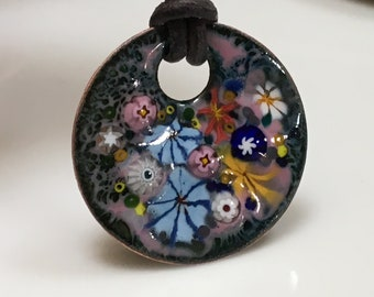 Copper Enameled Art Pendant of a Whimsical Flower Garden, Joyous Colors on a OOAK Vitreous Enamel Necklace, Exquisite Gift for Her