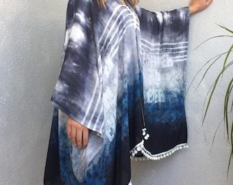 Cotton Boho Kimono, Tie Dye Kimono, Oversize Cardigan, Denim Printed Poncho, Loose Cardigan, Pompom Kimono,  Beach Cover Up, Women's Top
