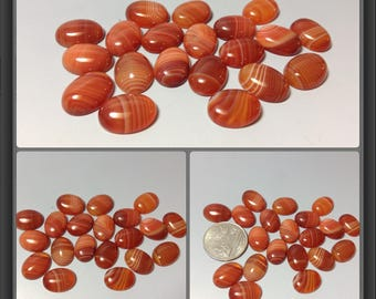 Red Agate with line cabochon 12x16mm