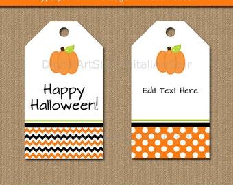 Printable Halloween Tags - Pumpkin Halloween Tags - Pumpkin Tags - Pumpkin Favor Tags - EDITABLE Halloween Gift Tags - Fall Gift Tags BB7