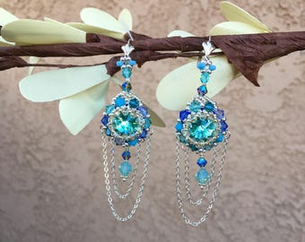 Dangle earrings women, Swarovski crystal beaded earrings, Boho chandelier earrings, turquoise drop earrings, blue earrings, Gift for wife