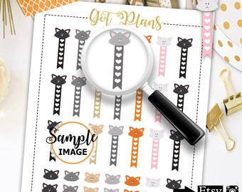 Cat Stickers, Printable Stickers, Cat Planner Stickers, Scrapbooking Stickers