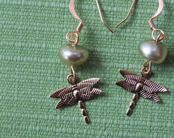 Green pearl and gold dragonfly dangle earrings