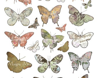 Butterfly Silhouettes Digital Collage Sheet - Stained Antiqued Butterfly Cut Outs - Instant Download - Printable