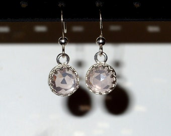Rose quartz earrings  pink dangle - chandelier - sterling silver or vermeil - birthstone -  vintage - Bridesmaid - statement earrings