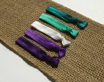 Purple and Teal Hair Tie Set   Elastic Hair Tie   Creaseless Hair Tie   Bulk Hair Ties   Hair Tie Favor   FOE Hair Tie   Hair Tie Bracelet