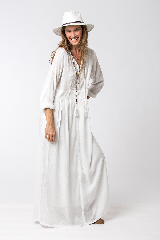 Long Sleeve White Dress Bohemian Dress Loose Dress White